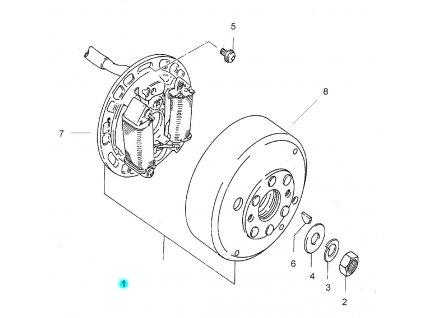 [1] Alternátor kompletní 32100HB1101 (alternátor) - Hyosung SB 50 (RUSCH)
