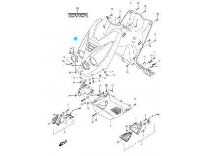 [1] Kapota horní přední / modro-černá (přední štít) - Hyosung SF 50 (PRIMA)