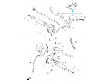[13] Držadlo včetně spojkové páčky (rukojeti, páčky a ovládání) - Hyosung GV 125 M C