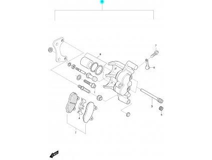 [0] Brzdový třmen zadní kompletní / nová verze (FIG54) - Hyosung GT 650 S & R