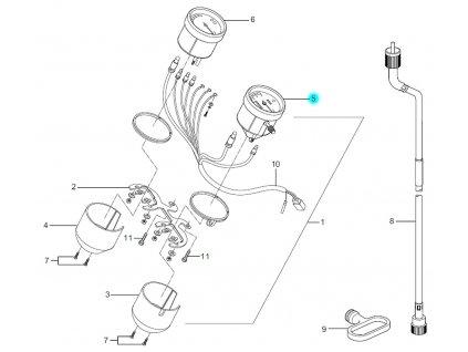 [5] Ukazatel rychlosti (tachometr) - Hyosung GA 125 Cruise 2