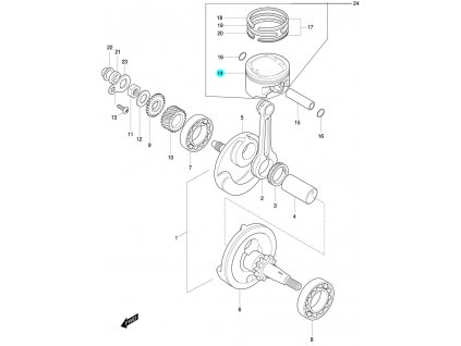[14] Píst / verze DLX (FIG07) - Hyosung 450 Sport