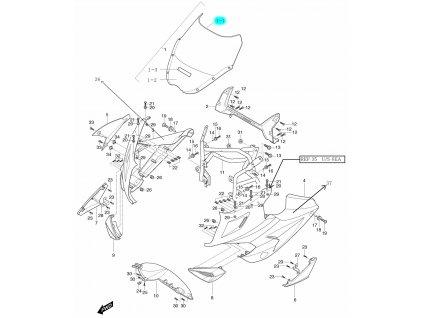 [1-1] Přední plexi (kapotáž přední horní) - Hyosung GT 650i R J 2012 (FI Delphi)