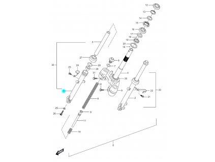 [1] Pouzdro tlumiče pravé (FIG28) - Hyosung SF 50 (PRIMA)