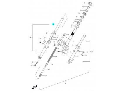 [3] Trubka vidlice (vidlice přední) - Hyosung SF 50 (PRIMA)