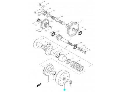 [11] Zvon spojkový (převodovka a odstředivá spojka) - Hyosung SF 50 (PRIMA)