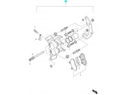 [0] Brzdový třmen přední pravý kompletní / nová verze (FIG45) - Hyosung GV 650