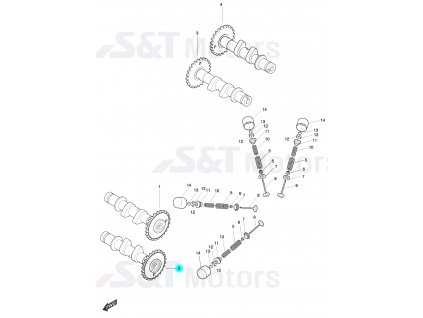[2] Vačkový hřídel výfukový přední (FIG08) - Hyosung ST 700i