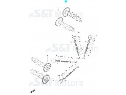 [4] Vačkový hřídel výfukový zadní (FIG08) - Hyosung ST 700i