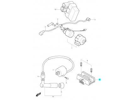 [5] Držák regulátoru (nová verze) (elektrické jednotky) - Hyosung RT 125
