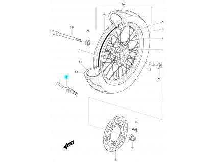 [8] Snímač rychloměru (přední kolo) - Hyosung RX 125 SM E3