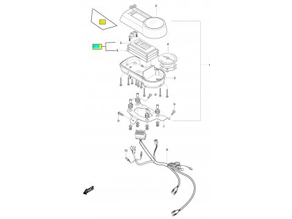 [6-1] Displej digitální kompletní (tachometr) - Hyosung GT 650 S & R