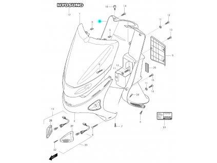 [8] Kryt plastový (přední štít) - Hyosung SD 50 (Avanti)