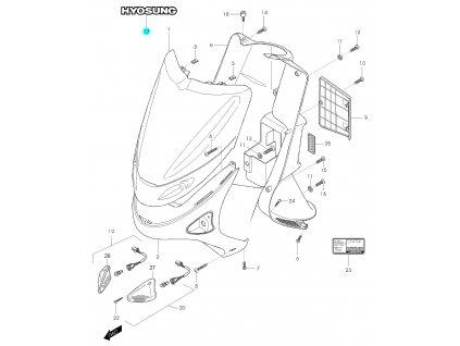 [17] Samolepa (přední štít) - Hyosung SD 50 (Avanti)