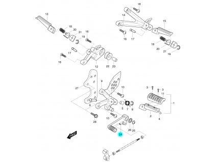 [24] Řadící páka včetně tyče - L = 202 (nová verze) (řadící páka & stupačky) - Hyosung GT 125 R