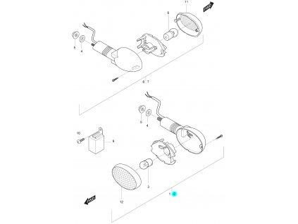 [2] Blinkr levý přední kompletní (ukazatel směru) - Hyosung GT 125 R E3