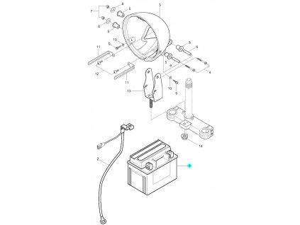 [1] Baterie (baterie a držák světlometu) - Hyosung RT 125