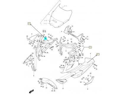 [3] Kapota přední pravá / oranžová (kapotáž přední horní) - Hyosung GT 650i R