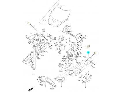 [4] Kapota přední levá / oranžová (FIG36) - Hyosung GT 650i R