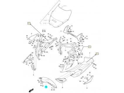 [10] Kapota přední střední / oranžová (kapotáž přední horní) - Hyosung GT 650i R