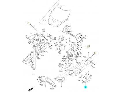 [6] Kapota přední levá / oranžová (kapotáž přední horní) - Hyosung GT 650i R