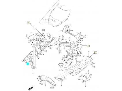 [7] Kapota přední pravá / oranžová (kapotáž přední horní) - Hyosung GT 650i R