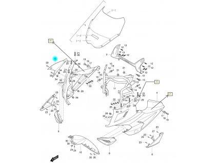 [5] Kapota přední pravá / oranžová (FIG36) - Hyosung GT 650i R