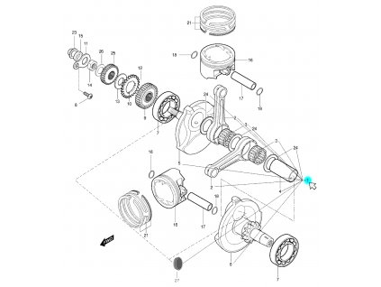[1] Klikový hřídel kompletní (klikový hřídel & píst) - Hyosung GT 650 S & R