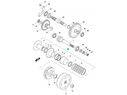 [0] Řemenice zadní kompletní (převodovka a odstředivá spojka) - Hyosung SF 50 B (RACING)