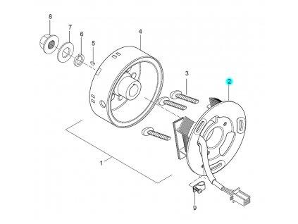 [2] Stator (alternátor) - Hyosung SD 50 Sense