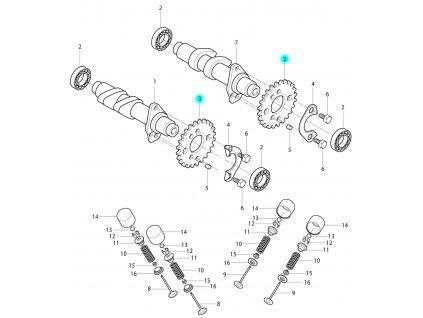 [3] Ozubené kolo (vačkový hřídel / ventilový pohon) - Hyosung RT 125 D E3