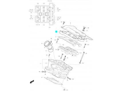 [2] Ventilový kryt / černý (hlava zadního válce) - Hyosung GV 650 Fi & LE30