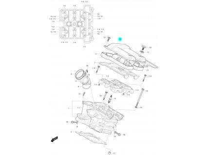 [3] Vrchní kryt / černý (hlava zadního válce) - Hyosung GV 650 Fi & LE30