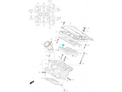 [1-2] Pouzdro vačkového hřídele / vstup (hlava zadního válce) - Hyosung GV 650i E