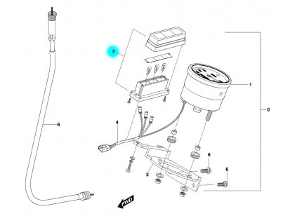 [2] Panel s kontrolkami (tachometr) - Hyosung SF 50 R (RALLY)