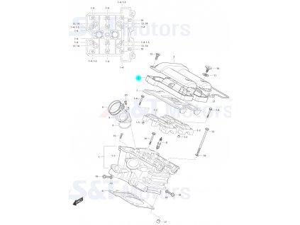 [2] Ventilový kryt / černý (hlava zadního válce) - Hyosung ST 700i