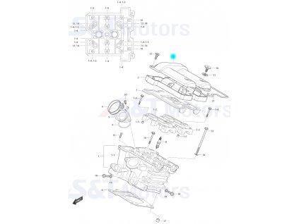 [3] Vrchní kryt / černý (hlava zadního válce) - Hyosung ST 700i