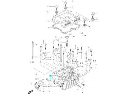 [18] Těsnící O-kroužek (hlava zadního válce) - Hyosung GT 250 N