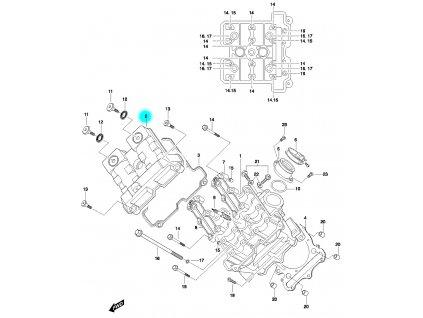 [2] Vrchní kryt (hlava předního válce) - Hyosung GT 650 N
