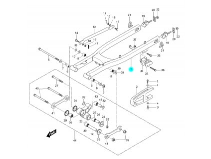 [1] Kyvná vidlice zadní (kyvná vidlice zadní) - Hyosung RX 125