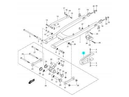 [2] Kluzná lišta (kyvná vidlice zadní) - Hyosung RX 125