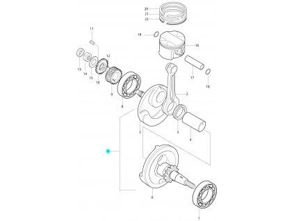[1] Klikový hřídel kompletní (klikový hřídel a píst) - Hyosung RT 125 D E3