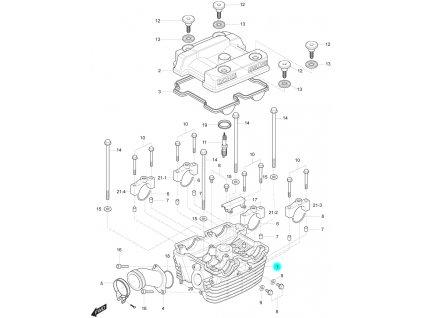 [1] Hlava válce (hlava zadního válce) - Hyosung GT 250 R