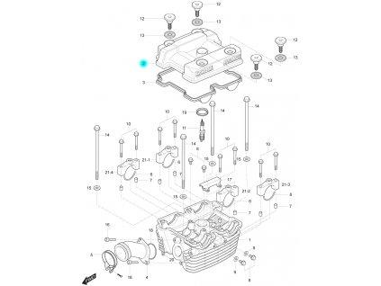 [2] Vrchní kryt (hlava zadního válce) - Hyosung GT 250 R