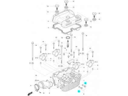 [9] Těsnění (hlava zadního válce) - Hyosung GT 250 R