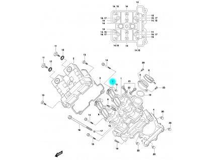 [7] Pouzdro vačkového hřídele / vstup (FIG01v) - Hyosung GT 650 N