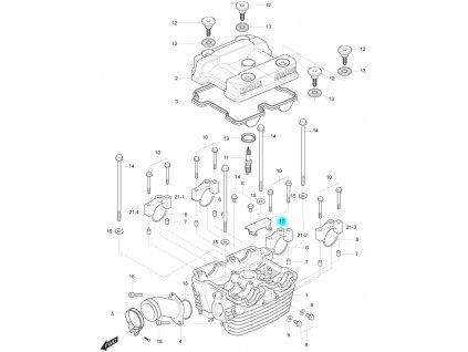 [17] Držák vodící (hlava zadního válce) - Hyosung GT 250 R
