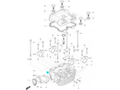 [18] Těsnící O-kroužek (hlava zadního válce) - Hyosung GT 250 R