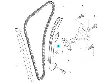 [3] Napínací lišta (rozvodový řetěz) - Hyosung RT 125 D E3