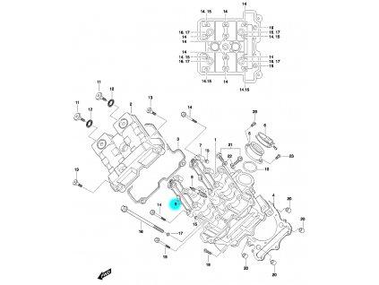 [8] Pouzdro vačkového hřídele / výstup (FIG01v) - Hyosung GT 650 N